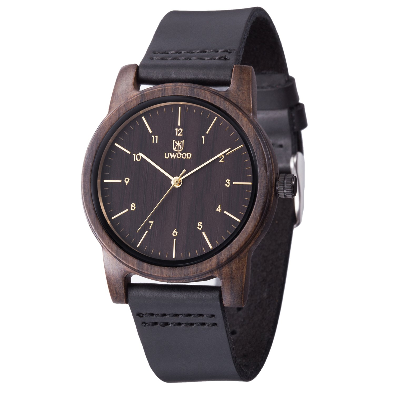 Wood Watch,BIOSTON Natural Handmade 40mm Size Black Sandalwood Leather Quartz Wooden Watches,Ebony Wood Wrist Watch Men
