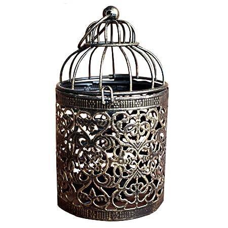 MoGist Candelabro marroquí Wind Luz Creativa pájaro Jaula durchb ...