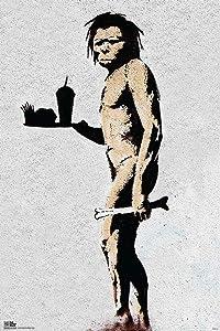 Pyramid America Banksy Caveman Fast Food Graffiti Stencil Street Art Urban Spray Paint Cool Wall Decor Art Print Poster 12x18