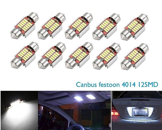 1 opinioni per CICMOD 10 pz Universale Auto LED 31mm Lampadine Siluro Canbus 4014 10SMD Luci