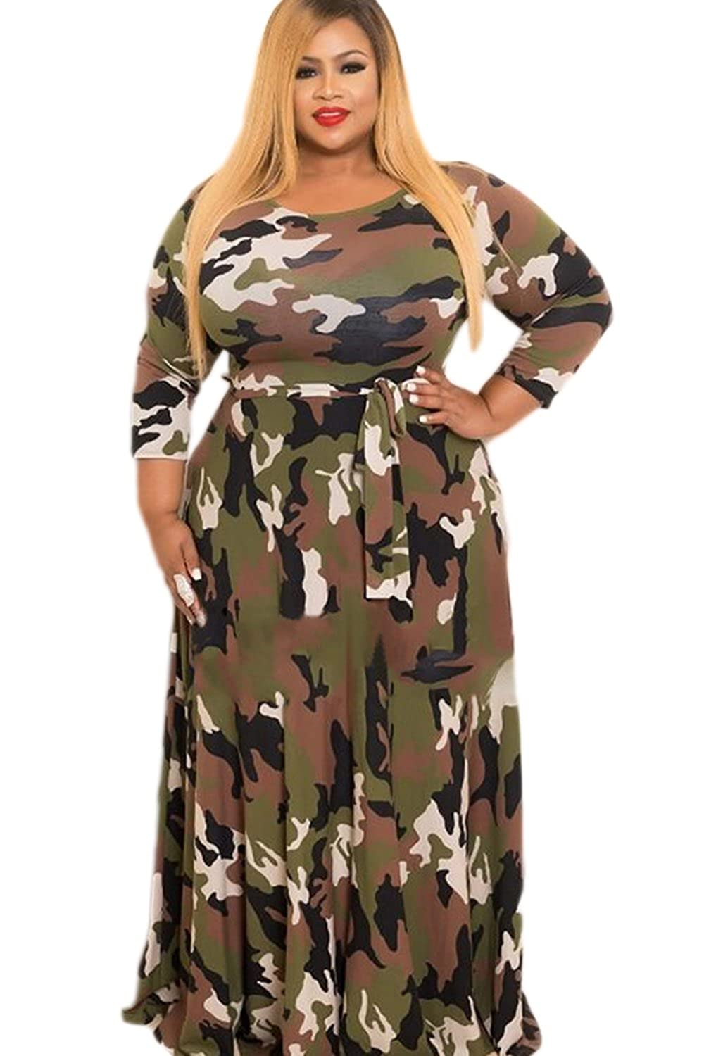 449efb9acfdbe Suvotimo Women Elegant Winter Camouflage Party Plus Size Fit and Flare  Skater Maxi Dress at Amazon Women's Clothing store: