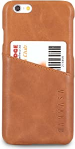 iPhone 6 / 6s Leather Case Brown - KANVASA Cards Premium Genuine Leather Wallet Back Cover for The Original iPhone 6/6s (4.7 inch) - Ultra Thin with Card Holder