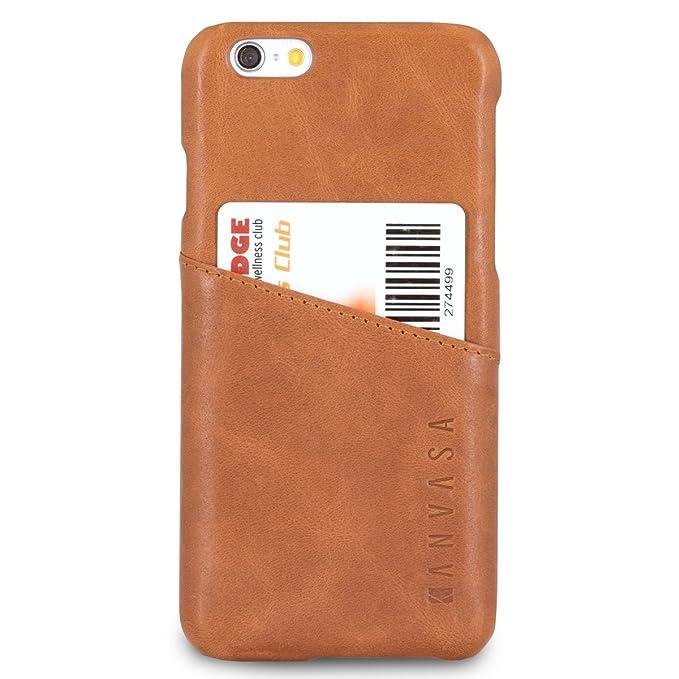 10 opinioni per KANVASA Cover iPhone 6 / 6s Pelle Marrone Cards Custodia Posteriore Portafoglio