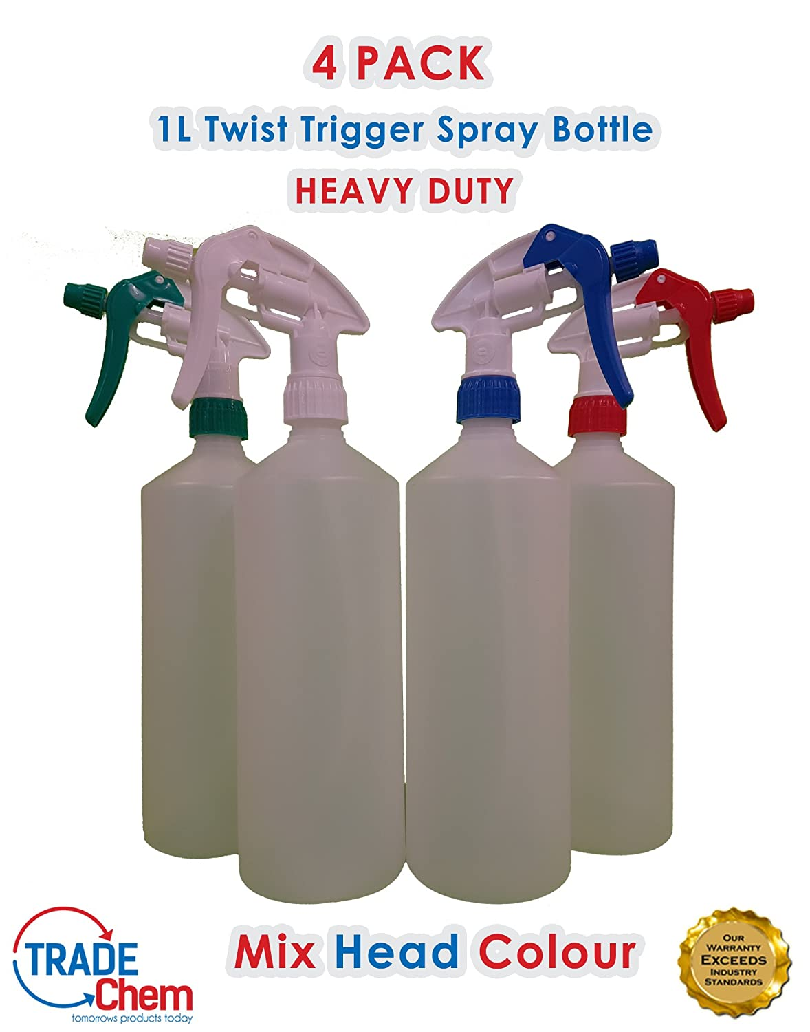 4 x Twist Type Trigger MIXED Spray Bottles 1L, Valeting, Household Cleaning Chemical Resistant Trade Chemicals