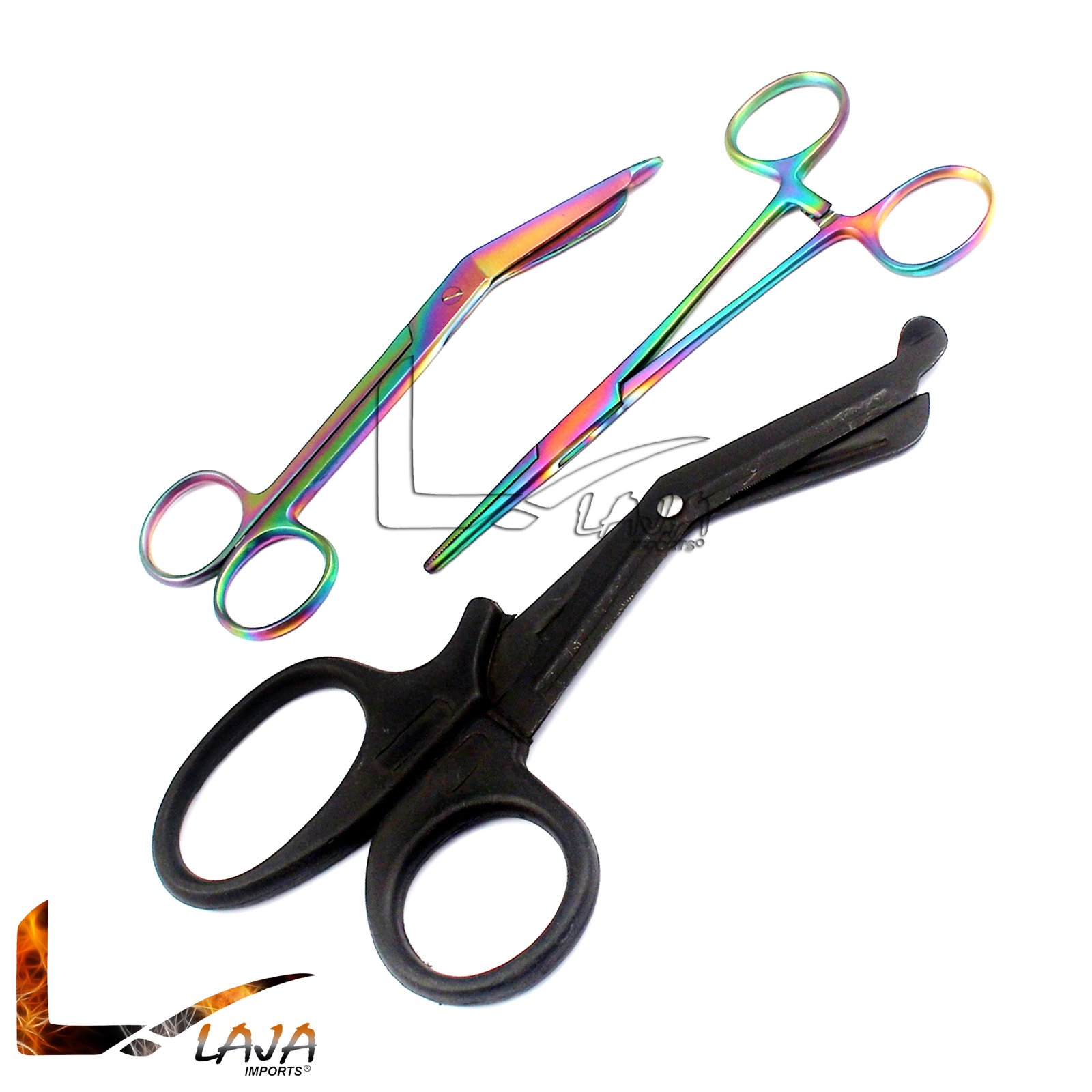LAJA IMPORTS TITANIUM GALAXY RAINBOW 2 PC 5.5'' ULTIMATE HEMOSTAT STRAIGHT, CURVED AND 7.5'' TACTICAL BLACK EMT TRAUMA SHEAR IDEAL FOR NURSES, EMT, FIREFIGHTER, FISHERMAN, HOBBIEST AND TAXIDERMY