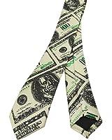 Skinny Black / Green Hundred Dollar Bill Print Tie Money