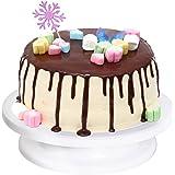 Ohuhu Tortenplatte drehbar, Tortenständer Kuchen Drehteller Cake Decorating Turntable mit 1 Stück Winkelpalette Set, 2 Stück Icing Smoother, für Backen Gebäck, Zuckerguss, Mustern 28x7 cm Weiß (Weiß)