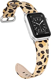 SWEES Leather Band Compatible for Apple Watch 38mm 40mm, Thin Dressy Elegant Genuine Leather Straps Compatible Apple Watch iWatch Series SE 6 5 4 3 2 1 Sport Edition Women Leopard Print with Silver Buckle