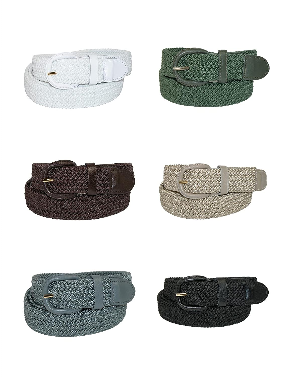 Ctm Men S Elastic Braided Belt With Covered Buckle Big Tall