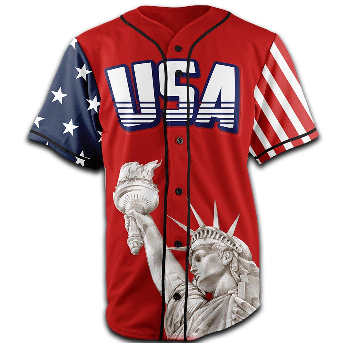 Amazon Greater Half Custom Baseball Jersey Button Down Usa Red