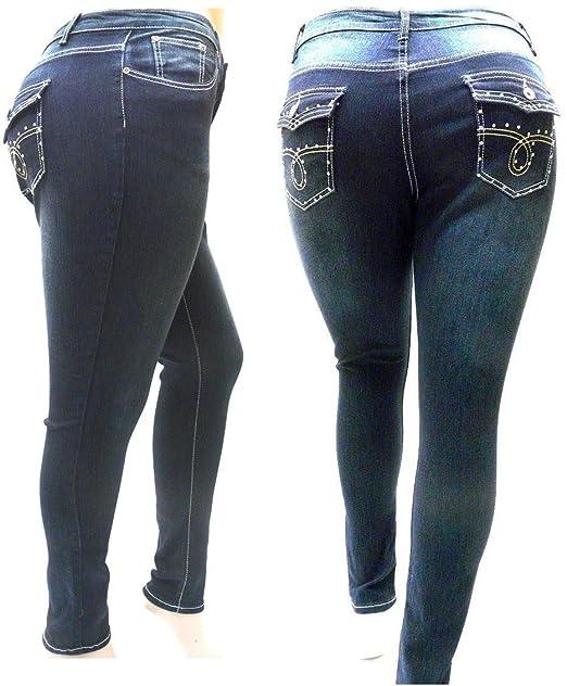 7ca5cffabe0 Image Unavailable. Image not available for. Color  Cotton Farm Super  Stretch HIGH WAIST WOMEN PLUS SIZE DARK BLUE DENIM JEANS pants SKINNY LEG