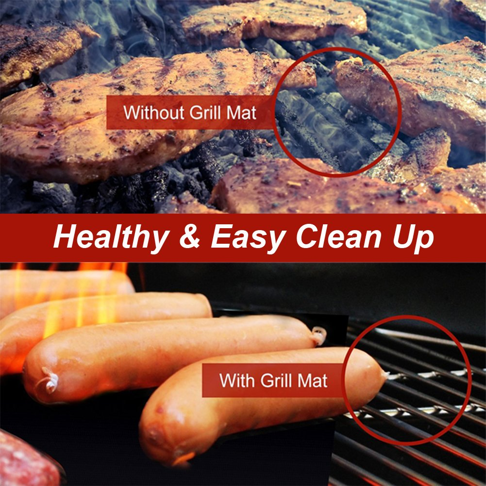 Barbecue mat (Set of 5), Grilldom and Reusable BBQ Grill Mat, Teflon Non-stick 0.2mm, 40x33cm by Grilldom (Image #6)
