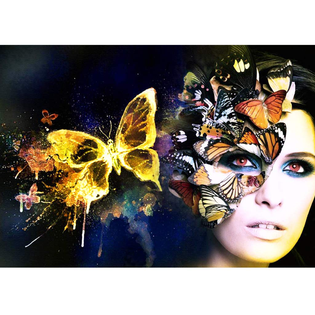 Mome  DIY 5D Diamond Embroidery Diamond Painting by Plant Kit, Full Drill Rhinestone Embroidery Cross Stitch Supply Arts Craft Canvas Wall Decor for Bed and Living Room 30x40cm (Butterfly Mask)