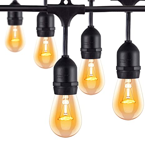 amlight outdoor commercial string lights 24 feet long with 12 hanging  dropped sockets- 12 s14