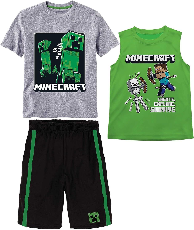Minecraft Boys Creepers 3 Piece T-Shirt Tank Top Short Set