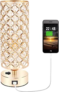 USB Gold Table Lamp with Charging Port, Accent Nightstand Lamp for Room Decor, USB Table Lamps for Nightstand, Beside Light for Bedroom, Living Room, Dresser, Dining Room(Gold)