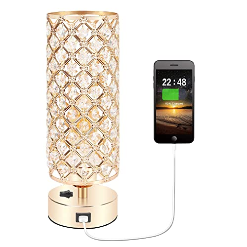 Crystal Table Desk Lamp with USB Charging Port, Accent Nightstand Decorative Room Desk Lamp, Night Light Lamp, Beside Small Gold Table Lamp for Bedroom, Living Room, Dresser, Dining Room Gold