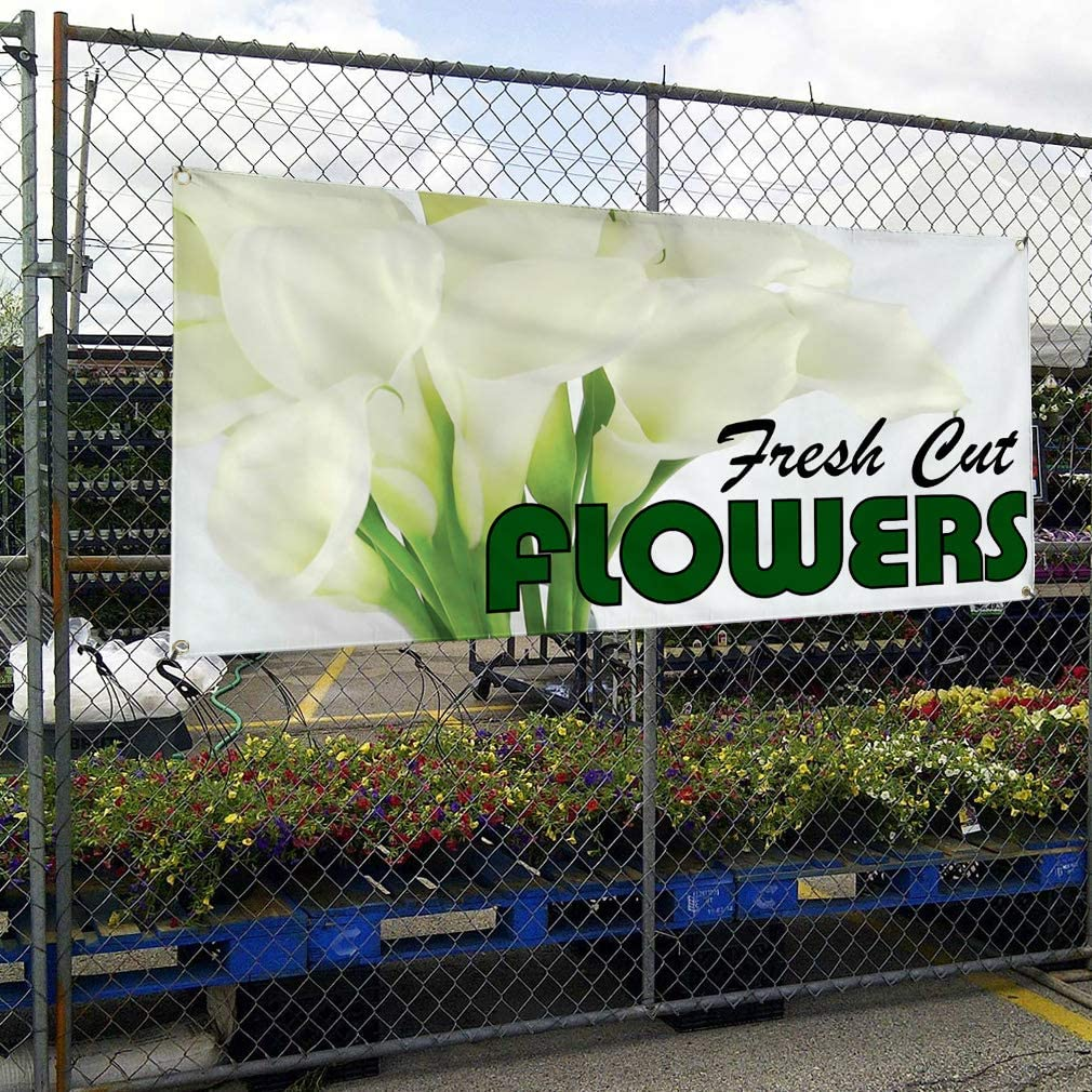 Vinyl Banner Multiple Sizes Florist Outdoor Advertising Printing E Business Outdoor Weatherproof Industrial Yard Signs White 10 Grommets 60x144Inches
