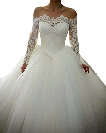 Long Sleeve Wedding Dresses Ball Gown Off the Shoulders
