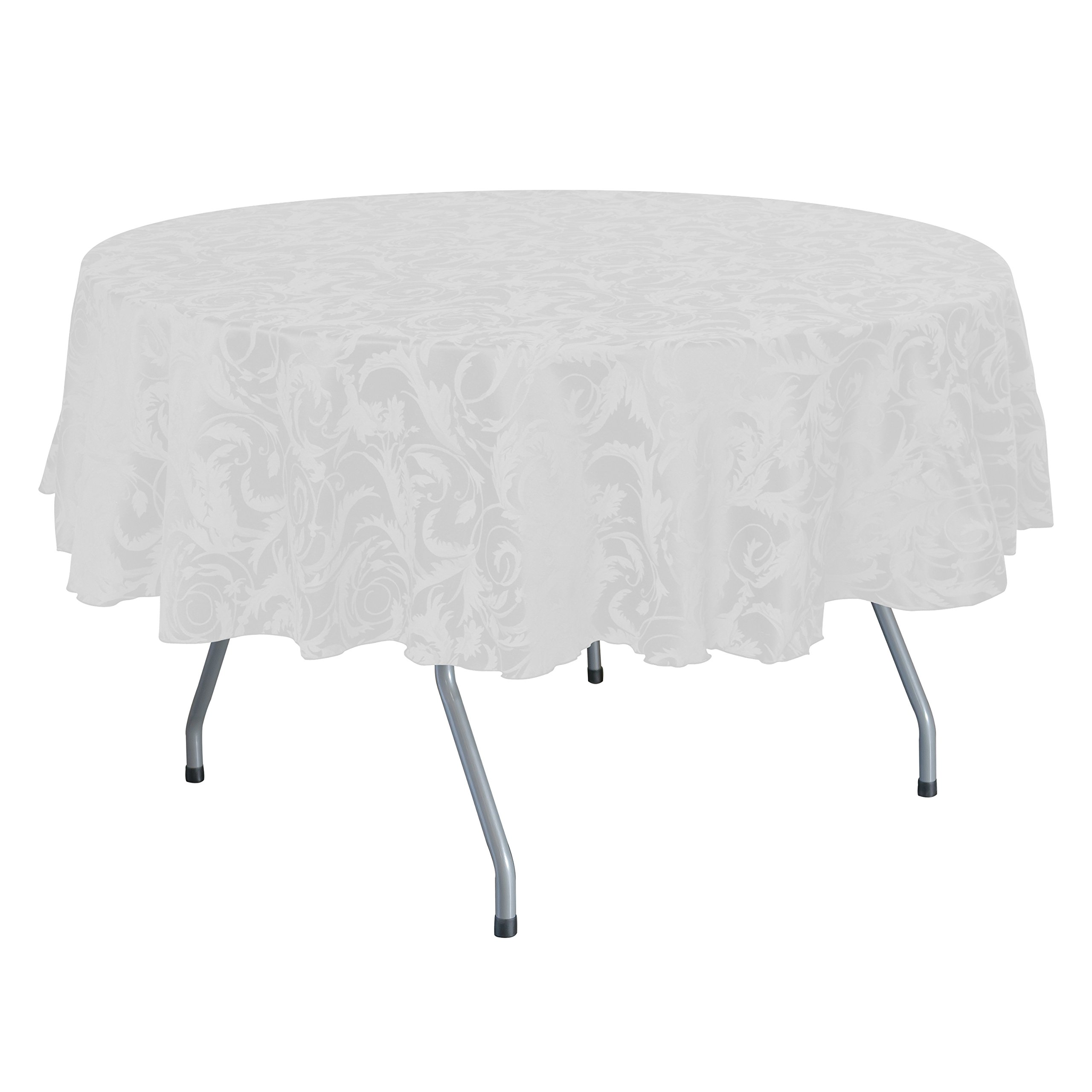 Ultimate Textile (5 Pack) Damask Melrose 60 x 120 Inch Oval Tablecloth - Home Dining Collection - Floral Leaf Scroll Jacquard Design, White by Ultimate Textile (Image #1)