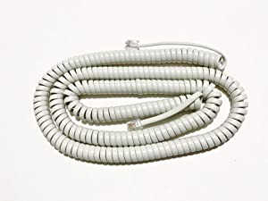 The VoIP Lounge 25 Foot Off White Long Phone Handset Curly Cord