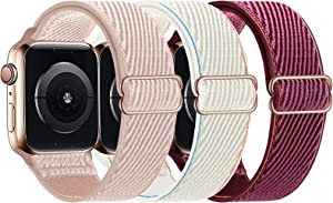LANGXIAN 3 Pack Nylon Elastic Strap Compatible with Apple Watch Bands, Solo Loop Adjustable Stretch Braided Wristband for iWatch Series 6/5/4/3/2/1/SE, 42mm 44mm (Rose Pink/Cream/Plum)