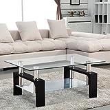 UEnjoy Rectangular Glass Coffee Table Side Table Living Room Black