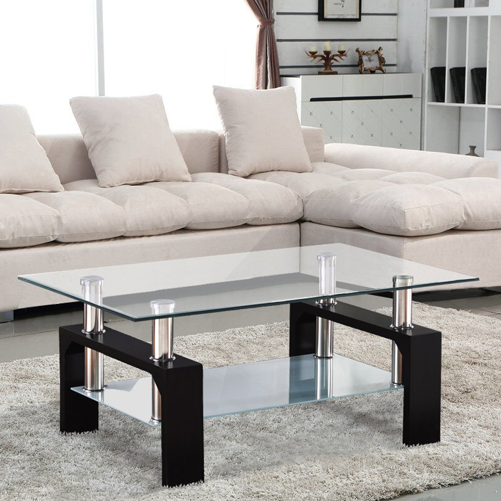 Living Room Coffee Table Uenjoy Rectangular Glass Coffee Table Black Amazoncouk Kitchen