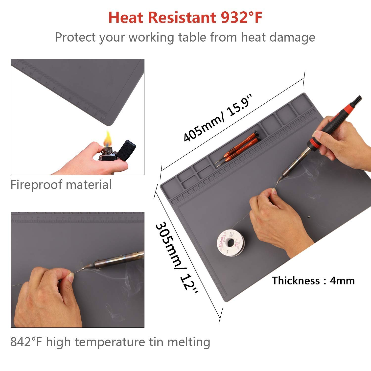 """Laptop Anti-static Mat ESD Safe for Electronic Contain Gift Anti-static Wristband 932/°F Heat Resistant 15.9/"""" x 12/"""" Grey Computer HPFIX Silicone Soldering Heat Insulation Repair Mat for Cellphone"""