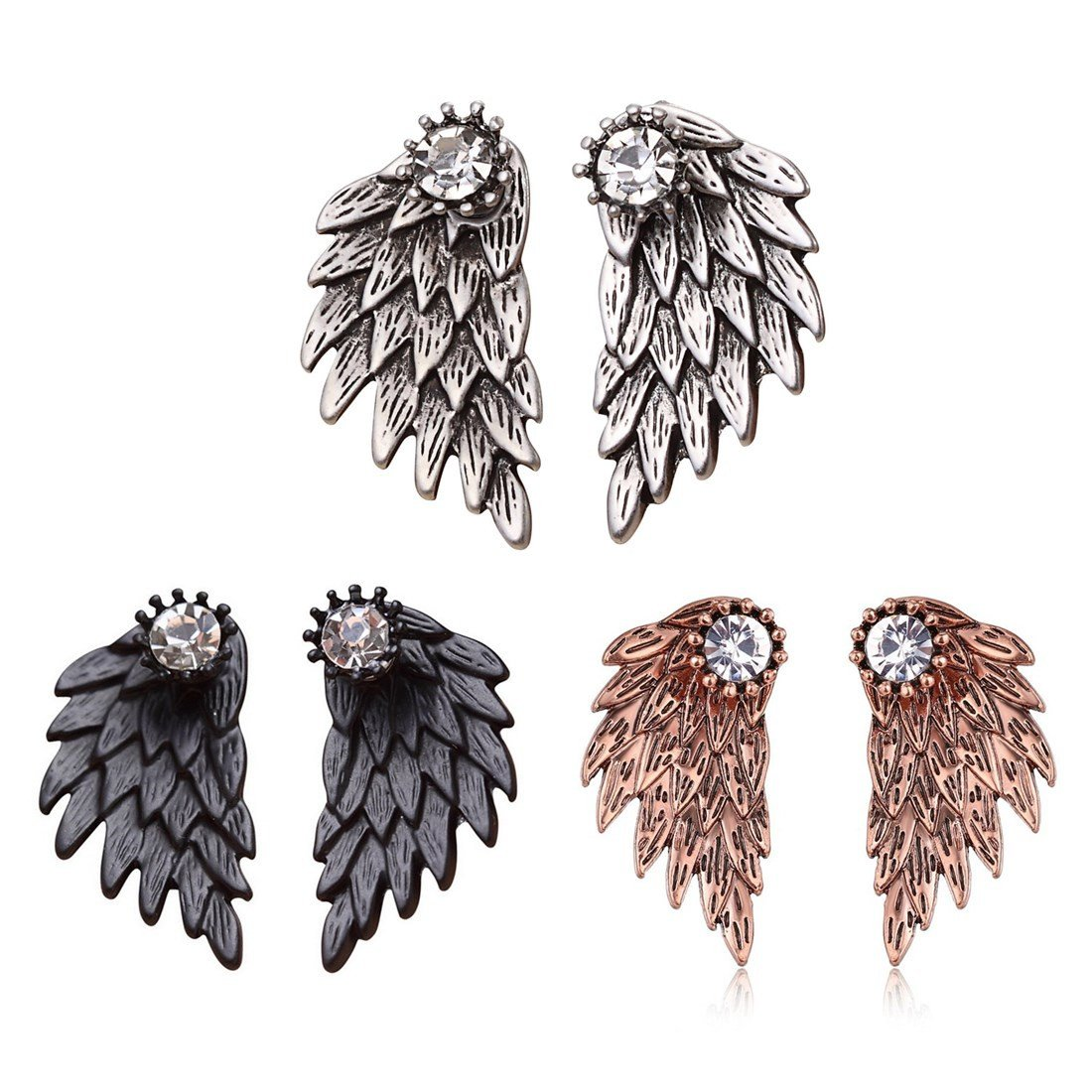 Cute Gothic Angel Wing Stud Earrings Ear Jacket for Women Unique Fashion MengPa Jewelry (Antique Silver+Black+Copper)