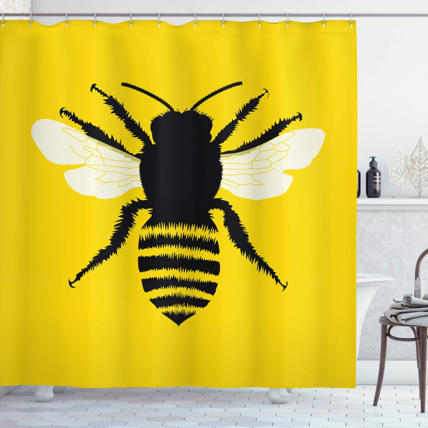 Ambesonne Queen Bee Shower Curtain, Silhouette of Honeybee with Stripped Design and Detailed Wings Abstract, Cloth Fabric Bathroom Decor Set with Hooks, 70