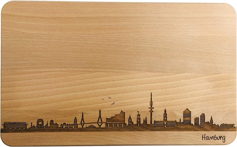 Brotzeitbrett Hamburg Skyline | Frühstücksbrettchen aus Buche | Holz Schneidbrett | Geschenk mit Gravur | Frühstücksbrett (Standard (22x14x1cm) - Frühstücksbrettchen