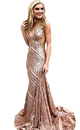 The Peachess Sequins Mermaid Prom Dresses Deep V-Neck Floor Length Sexy  Backless Evening Gowns ba5c0af92