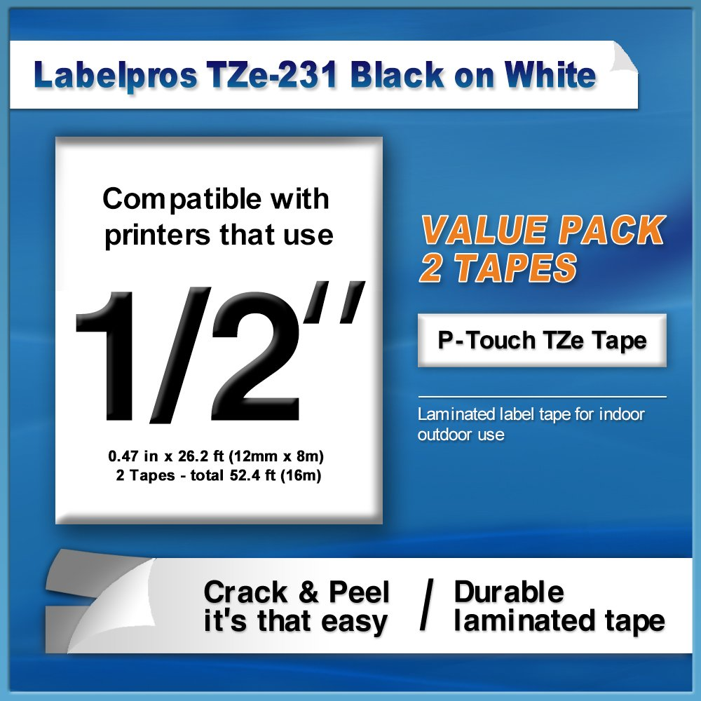 6 Pack TZe-131 TZe-231 TZe-431 TZe-531 TZe-631 TZe-731 Compatible Brother P Touch Label Tape 12mm X 8m by LabelPros (Image #3)