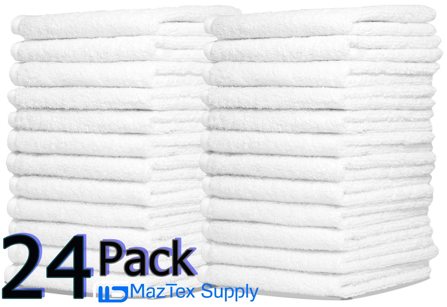 Wash Cloth 24-Pack,100% Natural Cotton, (12 x 12 ) , Commercial Grade, for use in Bathroom, Kitchen, Nursery and for Cleaning, Soft and Absorbent, Machine Washable By Omni Linens OMNI LINENS