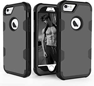Asuwish Compatible with iPhone 6 6s Case Slim Hybrid Shockproof Silicone Heavy Duty Hard Protective Cell Accessories Phone Cases for iPhone6 Six i6 S iPhone6s iPhine6s iPhones6s i Phone6s Phone6 Black