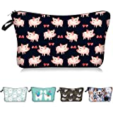 Pink Pig And Bow Cosmetic Bag Makeup Bags,Small Makeup Pouch Travel Toiletry Organizer With Zipper For Women Girls