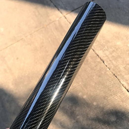 Rollo de vinilo negro de fibra de carbono de alto brillo, sin burbujas, liberación de aire, textura en 4D, de PEATOP: Amazon.es: Coche y moto