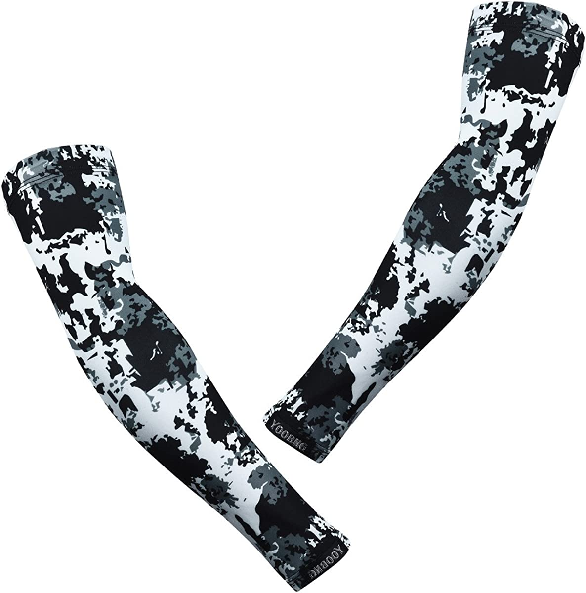 YOOBNG Arm Sleeves Camo Camouflage UV Protection Compression Cooling for Cycling Golf Basketball Running and Other Sports Men Women Youth Kids One Pair