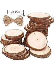 Rodajas de Madera Círculos 6-7cm 30 pcs TICOSH Discos de Madera Rebanada 10m Cuerda de Cáñamo Maderas Naturales Perforado Con Corteza de Árbol Para Manualidades