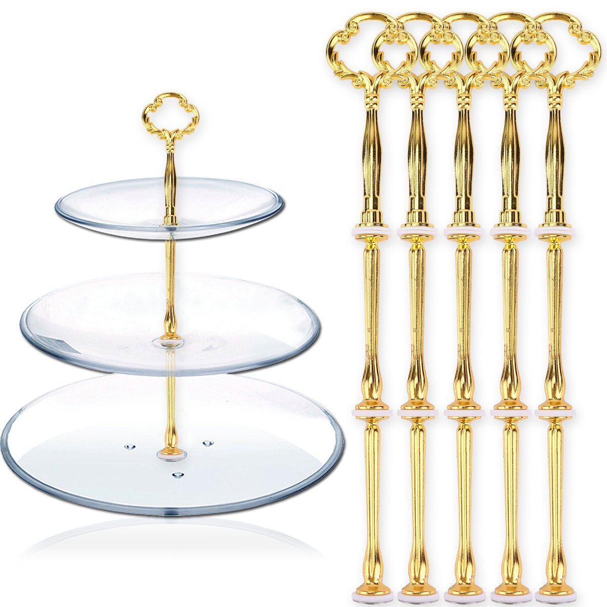 Gold *Original bei Sofortdeins* 5 x Blume Motive mini Metallstangen Mittellochausstech f/ür 2 bis 3 Etage Etagere Etagenplatte Hochzeitstorte Tortenst/änder 21cm