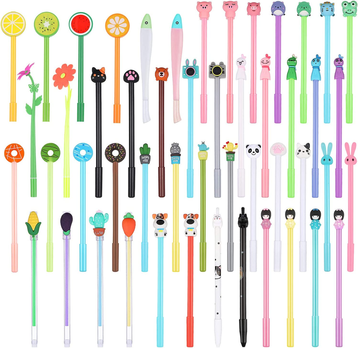 50 Pieces Cartoon Pens Cute Gel Ink Pen Set Rollerball Pens Assorted Style Writing Pens Mixed Food Sweet Rollerball Gel Ink Pens Cute Cartoon Shell for Office School Home Kids Party Favors
