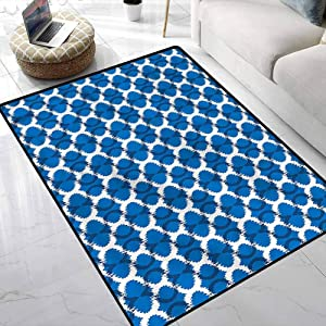 Rugs Ikat,Superimposed Curvy Geometry Kids Playing Mat for Boys and Girls Play and Learn 4 x 6 Feet