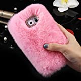 For Samsung Galaxy S8 PLUS Case, FLOVEME Luxury Winter Soft Warm Faux Rabbit Fur Fuzzy Plush with Crystal Cute Bowknot Protective Back Cover for Girls Xmas Gift, Pink
