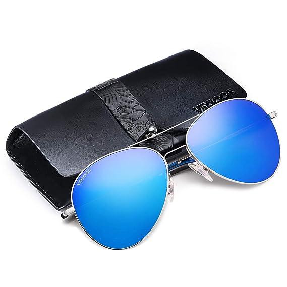 424f6ed037ab7 Vegoos Lunette de soleil Homme Polarisées Aviateur Polarisées Lunettes de  soleil Hommes Unisexe UV400 Protection Bleu