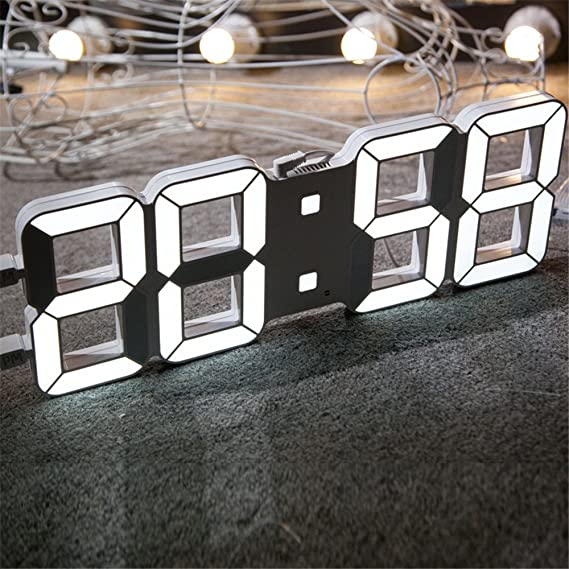 Amazon.com: Imoerjia Digital Clock Creative Wall Clock, 3D Stereo Clock, Living Plastic Electronic Clock, Digital Silent Night Light: Home & Kitchen