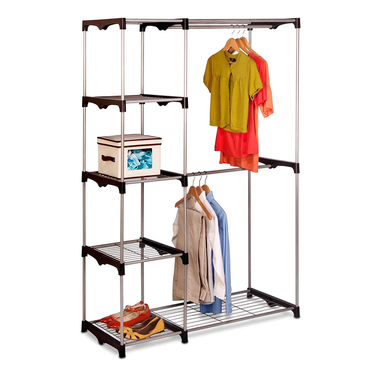 Amazon.com: Honey Can Do WRD 02124 Double Rod Freestanding Closet, 45L X  19W X 68H: Home U0026 Kitchen
