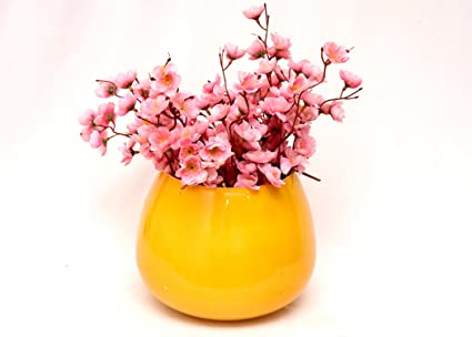 Buy round colourful flower vase in yellow colour online at low round colourful flower vase in yellow colour mightylinksfo