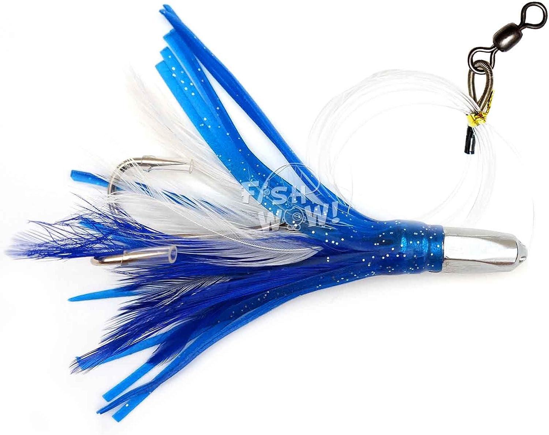 "Wahoo Mahi Tuna Big Game Saltwater Trolling Lure 9/""Bullet Jet Head Rigged Squid"