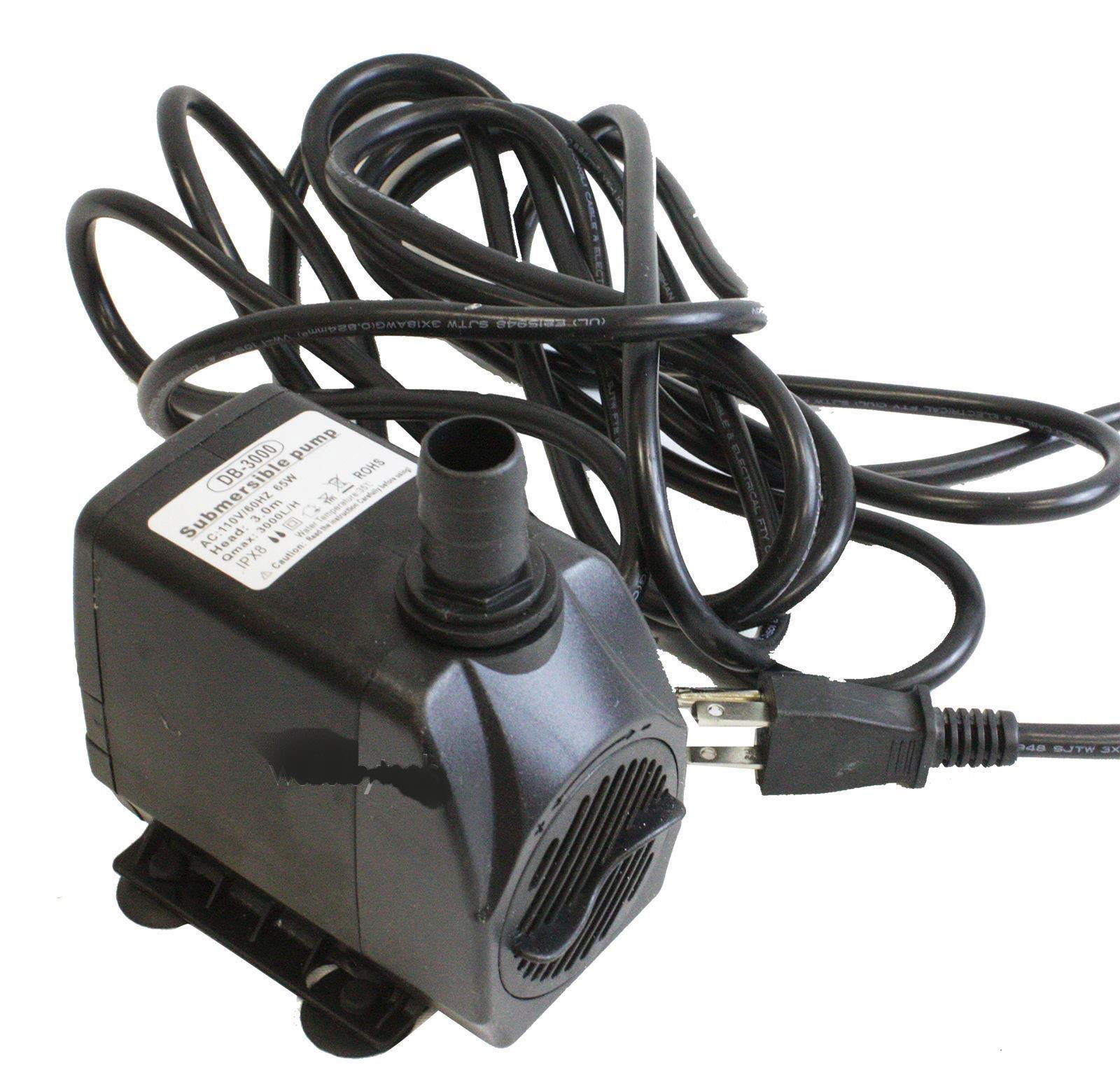 KCHEX>65W 760GPH Electric Garden Submersible Fountain Pond Water Feature Pump DB-3000>Rated Power: 65W◎ Max Head: 3m◎ Max Flow: 3000LPH◎ Voltage: 110V/60HZ, US Plug Application: This Product is Used